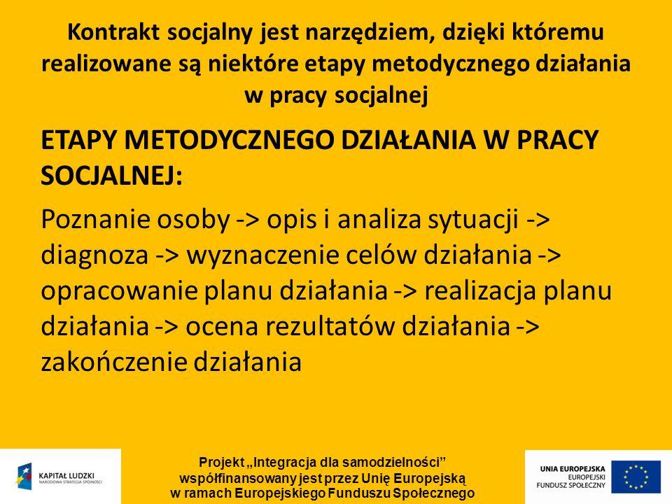 Kontrakt socjalny jest narzędziem, dzięki któremu realizowane są niektóre etapy metodycznego działania w pracy socjalnej ETAPY METODYCZNEGO DZIAŁANIA