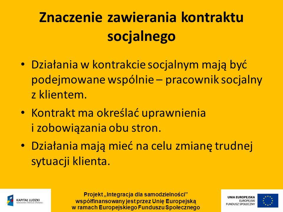 Działania w kontrakcie socjalnym mają być podejmowane wspólnie – pracownik socjalny z klientem. Kontrakt ma określać uprawnienia i zobowiązania obu st