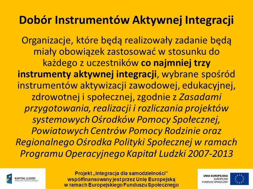 Dobór Instrumentów Aktywnej Integracji Organizacje, które będą realizowały zadanie będą miały obowiązek zastosować w stosunku do każdego z uczestników