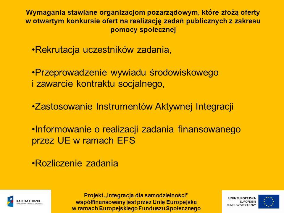 Projekt Integracja dla samodzielności współfinansowany jest przez Unię Europejską w ramach Europejskiego Funduszu Społecznego Wymagania stawiane organ