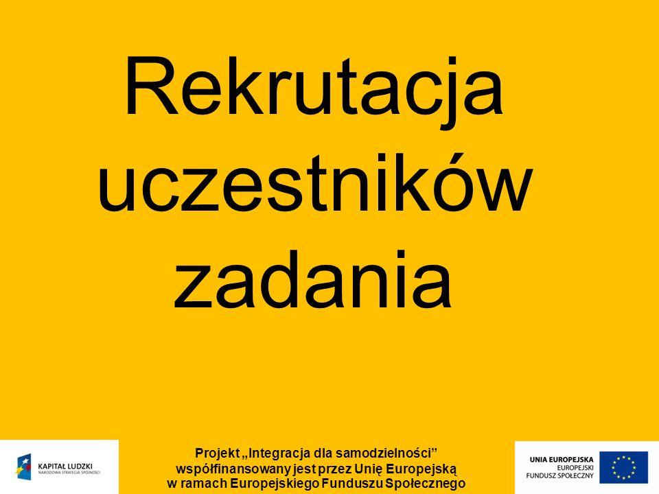 Projekt Integracja dla samodzielności współfinansowany jest przez Unię Europejską w ramach Europejskiego Funduszu Społecznego Rekrutacja uczestników z