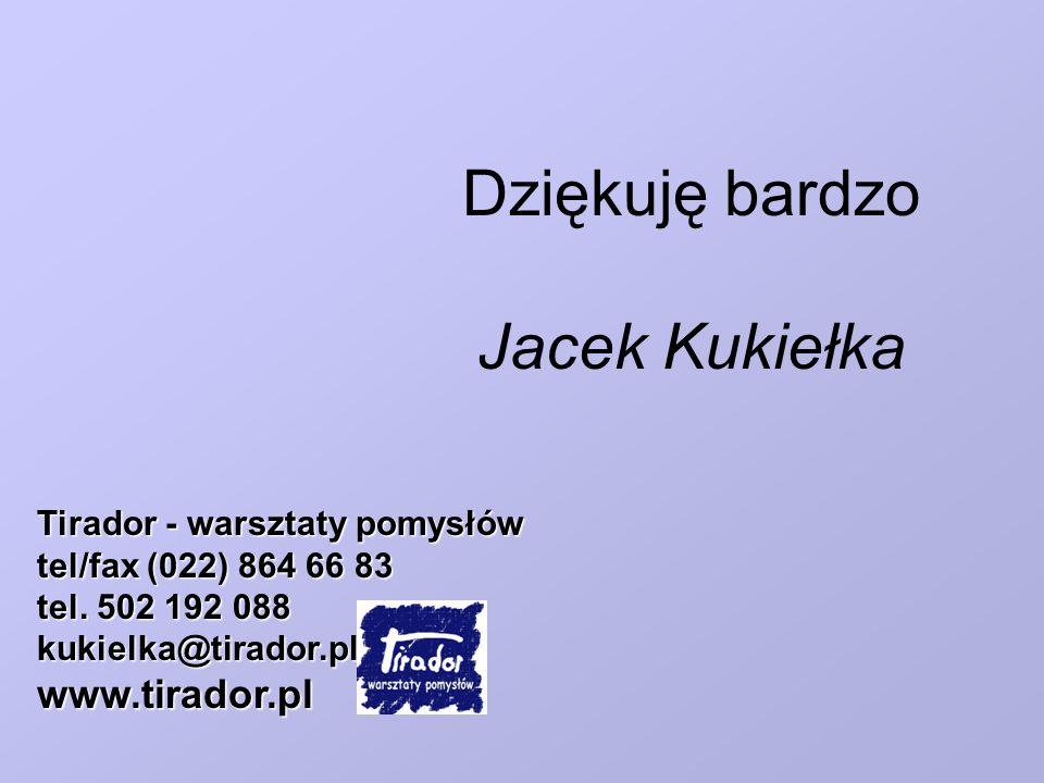 Dziękuję bardzo Jacek Kukiełka Tirador - warsztaty pomysłów tel/fax (022) 864 66 83 tel. 502 192 088 kukielka@tirador.plwww.tirador.pl