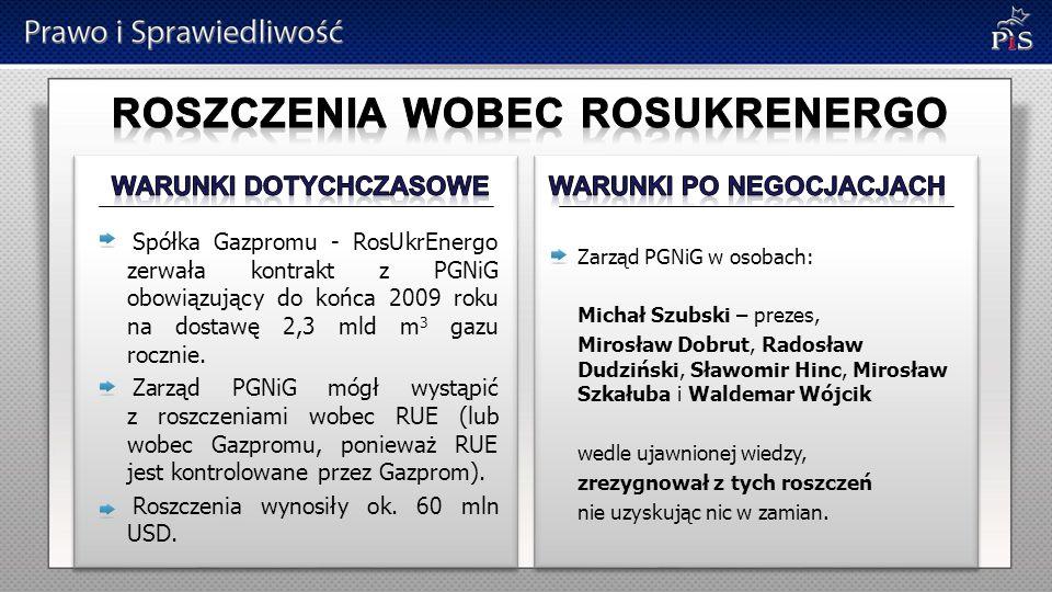 Spółka Gazpromu - RosUkrEnergo zerwała kontrakt z PGNiG obowiązujący do końca 2009 roku na dostawę 2,3 mld m 3 gazu rocznie. Zarząd PGNiG mógł wystąpi