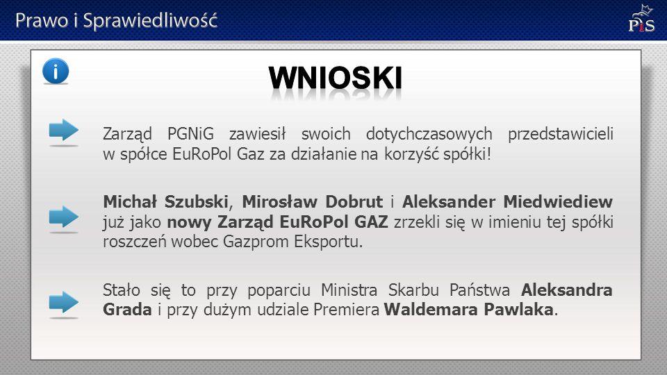 Zarząd PGNiG zawiesił swoich dotychczasowych przedstawicieli w spółce EuRoPol Gaz za działanie na korzyść spółki! Michał Szubski, Mirosław Dobrut i Al