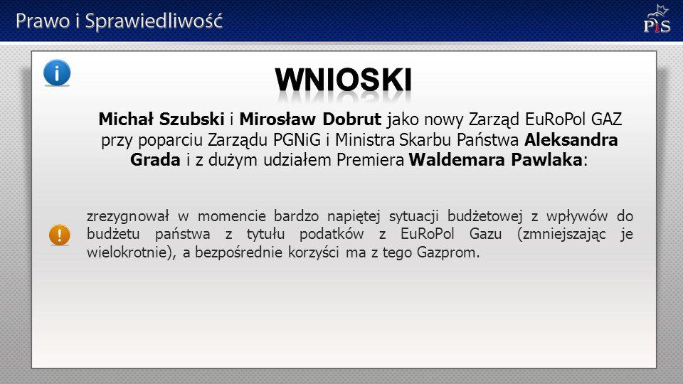 Michał Szubski i Mirosław Dobrut jako nowy Zarząd EuRoPol GAZ przy poparciu Zarządu PGNiG i Ministra Skarbu Państwa Aleksandra Grada i z dużym udziałe