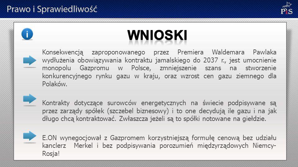 Konsekwencją zaproponowanego przez Premiera Waldemara Pawlaka wydłużenia obowiązywania kontraktu jamalskiego do 2037 r., jest umocnienie monopolu Gazpromu w Polsce, zmniejszenie szans na stworzenie konkurencyjnego rynku gazu w kraju, oraz wzrost cen gazu ziemnego dla Polaków.
