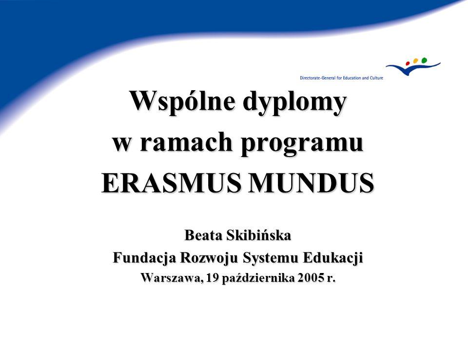 ERASMUS MUNDUS Zakładane rezultaty 2004-2008 115 Erasmus Mundus Master Courses (studiów Mundusowych 6.000 stypendiów dla studentów z krajów trzecich 1.000 stypendiów dla wykładowców/ naukowców z krajów trzecich Informacja o zaakceptowanych projektach – strona: http://europa.eu.int/erasmus-mundus