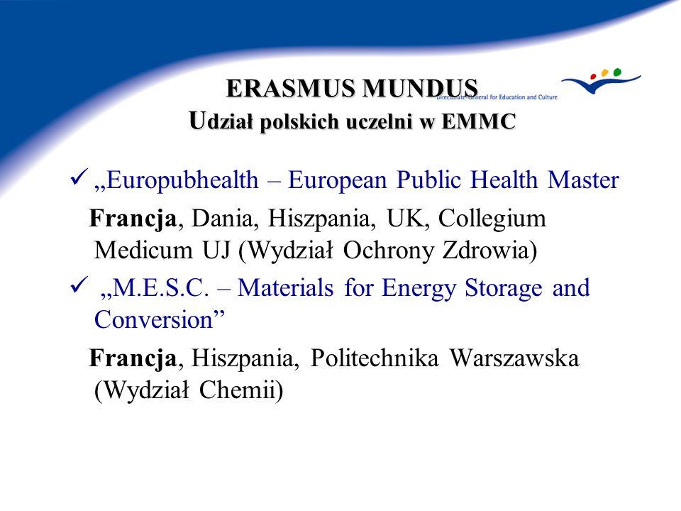ERASMUS MUNDUS U dział polskich uczelni w EMMC Europubhealth – European Public Health Master Francja, Dania, Hiszpania, UK, Collegium Medicum UJ (Wydz
