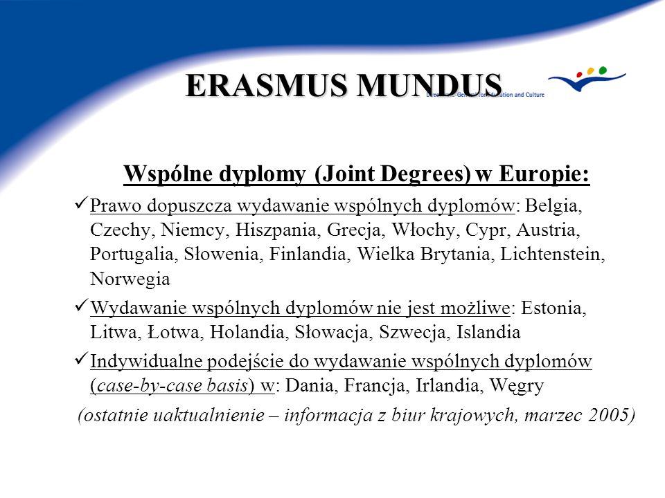 ERASMUS MUNDUS Wspólne dyplomy (Joint Degrees) w Europie: Prawo dopuszcza wydawanie wspólnych dyplomów: Belgia, Czechy, Niemcy, Hiszpania, Grecja, Wło