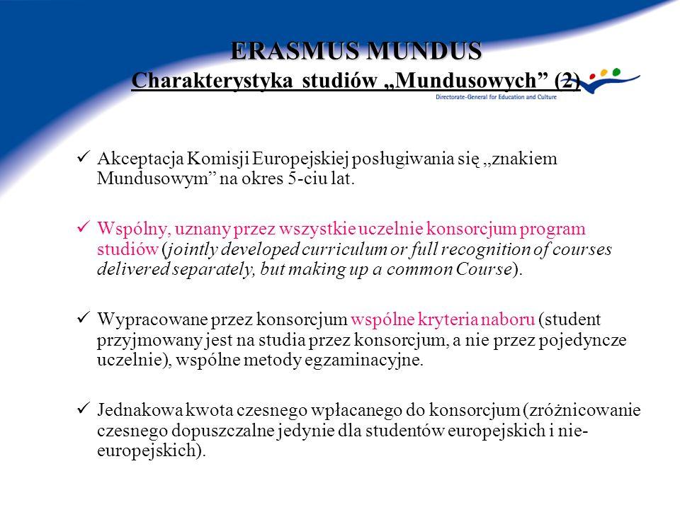 ERASMUS MUNDUS ERASMUS MUNDUS Charakterystyka studiów Mundusowych (2) Akceptacja Komisji Europejskiej posługiwania się znakiem Mundusowym na okres 5-ciu lat.