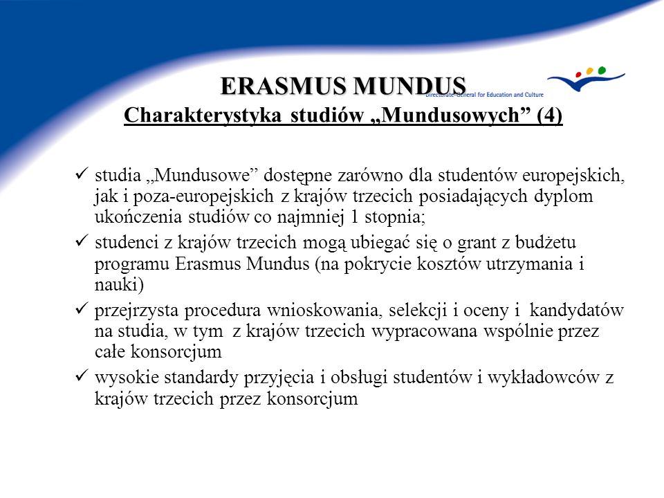 ERASMUS MUNDUS ERASMUS MUNDUS Charakterystyka studiów Mundusowych (4) studia Mundusowe dostępne zarówno dla studentów europejskich, jak i poza-europejskich z krajów trzecich posiadających dyplom ukończenia studiów co najmniej 1 stopnia; studenci z krajów trzecich mogą ubiegać się o grant z budżetu programu Erasmus Mundus (na pokrycie kosztów utrzymania i nauki) przejrzysta procedura wnioskowania, selekcji i oceny i kandydatów na studia, w tym z krajów trzecich wypracowana wspólnie przez całe konsorcjum wysokie standardy przyjęcia i obsługi studentów i wykładowców z krajów trzecich przez konsorcjum