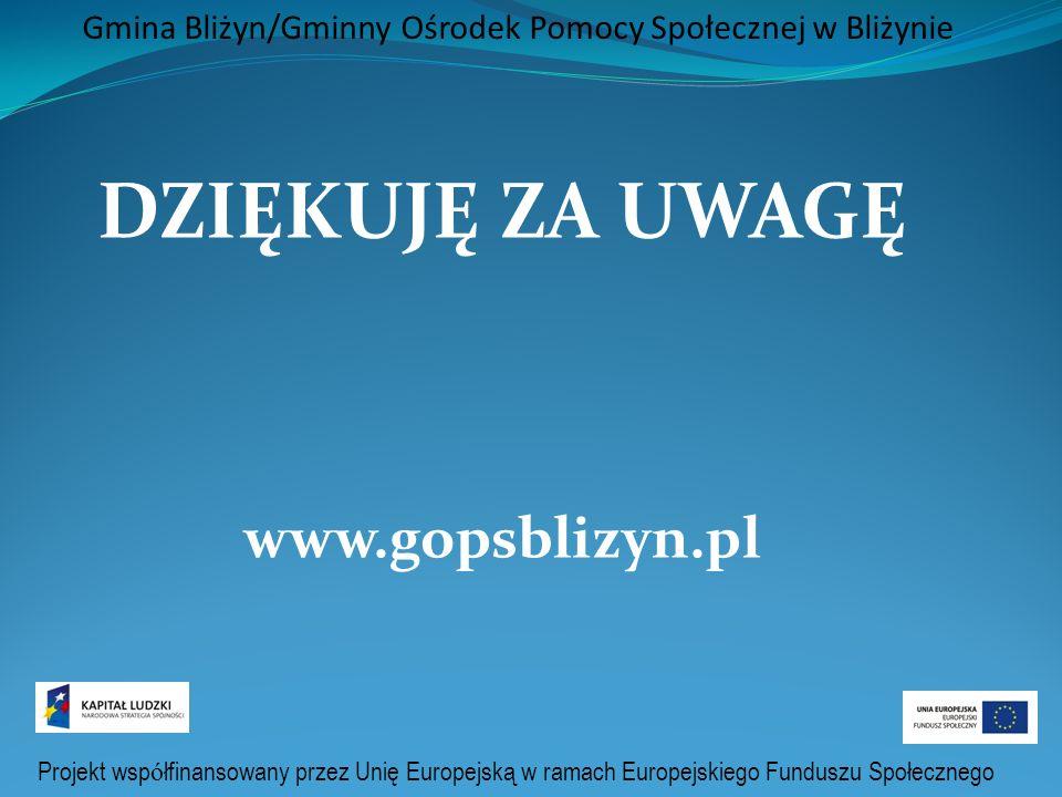 Projekt wsp ó łfinansowany przez Unię Europejską w ramach Europejskiego Funduszu Społecznego Gmina Bliżyn/Gminny Ośrodek Pomocy Społecznej w Bliżynie DZIĘKUJĘ ZA UWAGĘ www.gopsblizyn.pl