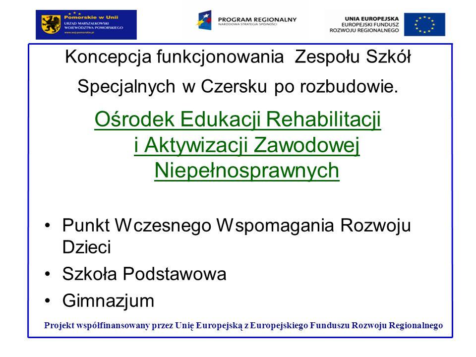 Trzyletnia Ponadgimnazjalna Szkoła Przysposabiająca do Pracy dla uczniów z upośledzeniem umysłowym w stopniu umiarkowanym i znacznym Punkt Informacyjno-Doradczy dla osób niepełnosprawnych, dla rodziców oraz dla pracodawców zainteresowanych kształceniem w zawodzie a także tworzeniem miejsc pracy Projekt współfinansowany przez Unię Europejską z Europejskiego Funduszu Rozwoju Regionalnego