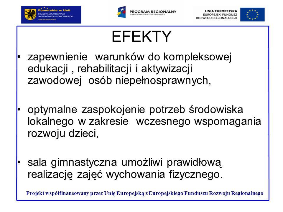 EFEKTY zapewnienie warunków do kompleksowej edukacji, rehabilitacji i aktywizacji zawodowej osób niepełnosprawnych, optymalne zaspokojenie potrzeb śro