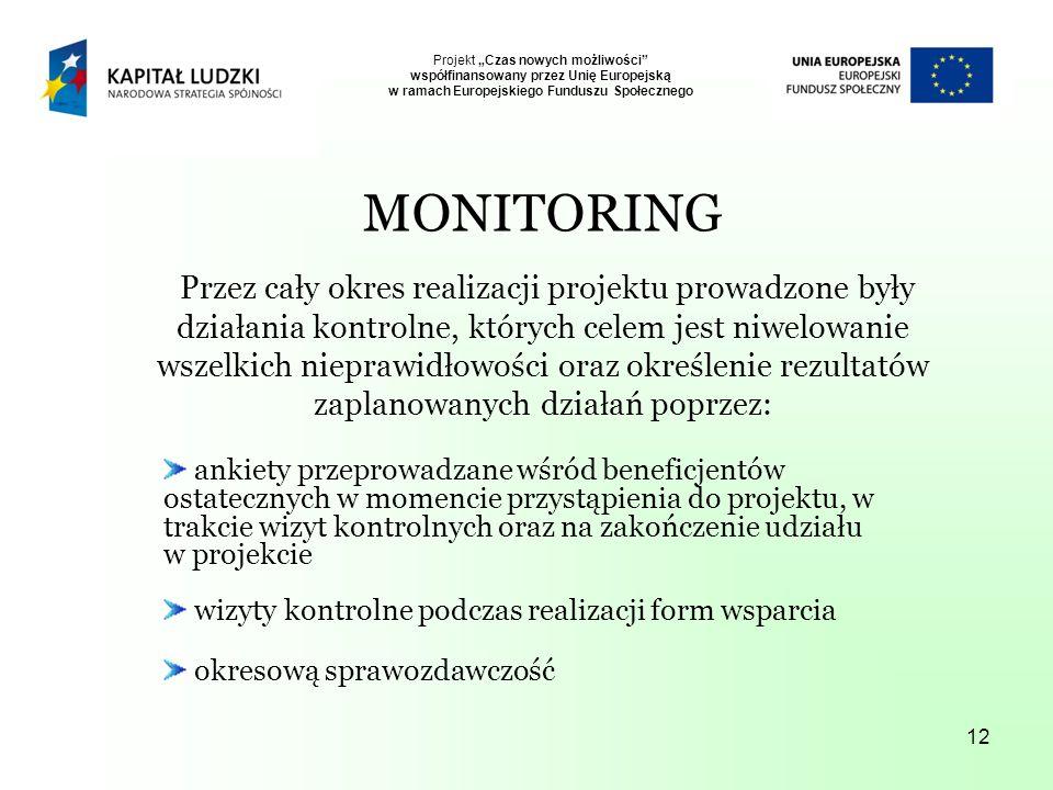 12 Projekt Czas nowych możliwości współfinansowany przez Unię Europejską w ramach Europejskiego Funduszu Społecznego MONITORING Przez cały okres realizacji projektu prowadzone były działania kontrolne, których celem jest niwelowanie wszelkich nieprawidłowości oraz określenie rezultatów zaplanowanych działań poprzez: ankiety przeprowadzane wśród beneficjentów ostatecznych w momencie przystąpienia do projektu, w trakcie wizyt kontrolnych oraz na zakończenie udziału w projekcie wizyty kontrolne podczas realizacji form wsparcia okresową sprawozdawczość