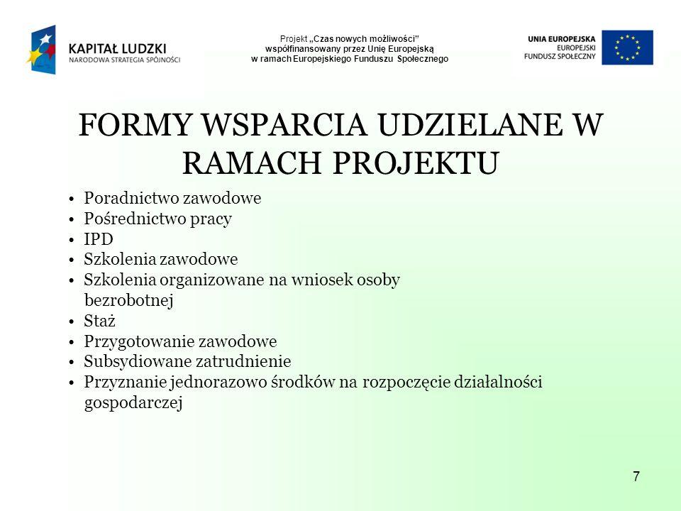 7 FORMY WSPARCIA UDZIELANE W RAMACH PROJEKTU Poradnictwo zawodowe Pośrednictwo pracy IPD Szkolenia zawodowe Szkolenia organizowane na wniosek osoby bezrobotnej Staż Przygotowanie zawodowe Subsydiowane zatrudnienie Przyznanie jednorazowo środków na rozpoczęcie działalności gospodarczej Projekt Czas nowych możliwości współfinansowany przez Unię Europejską w ramach Europejskiego Funduszu Społecznego