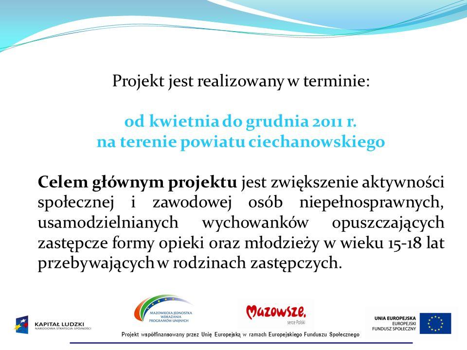 Projekt jest realizowany w terminie: od kwietnia do grudnia 2011 r.