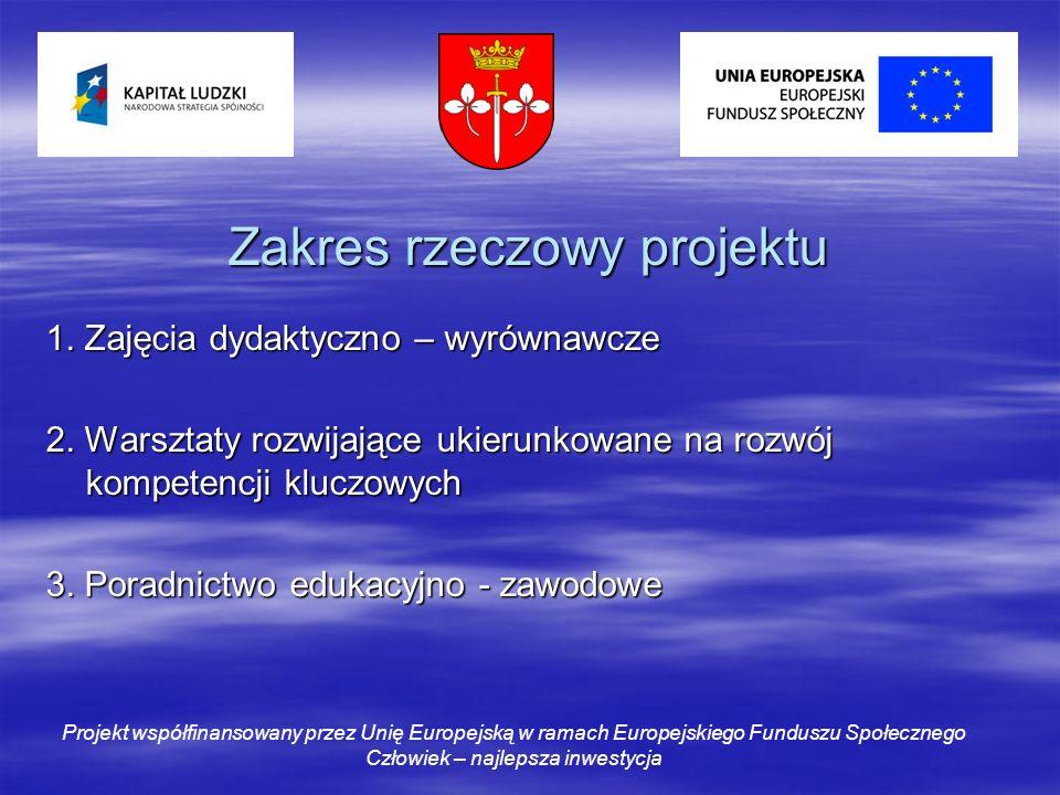 Zakres rzeczowy projektu 1. Zajęcia dydaktyczno – wyrównawcze 2.