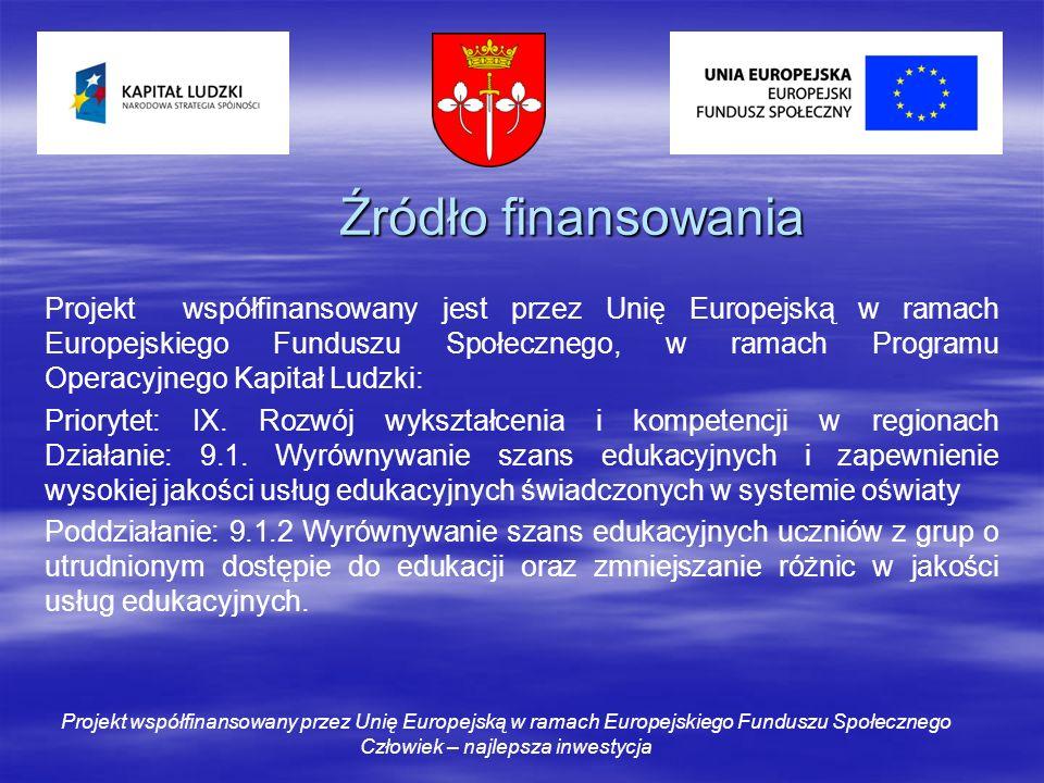 Źródło finansowania Projekt współfinansowany jest przez Unię Europejską w ramach Europejskiego Funduszu Społecznego, w ramach Programu Operacyjnego Kapitał Ludzki: Priorytet: IX.
