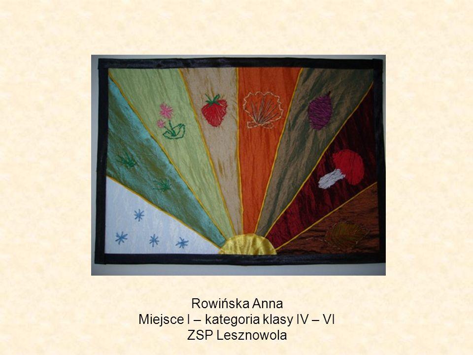 Rowińska Anna Miejsce I – kategoria klasy IV – VI ZSP Lesznowola