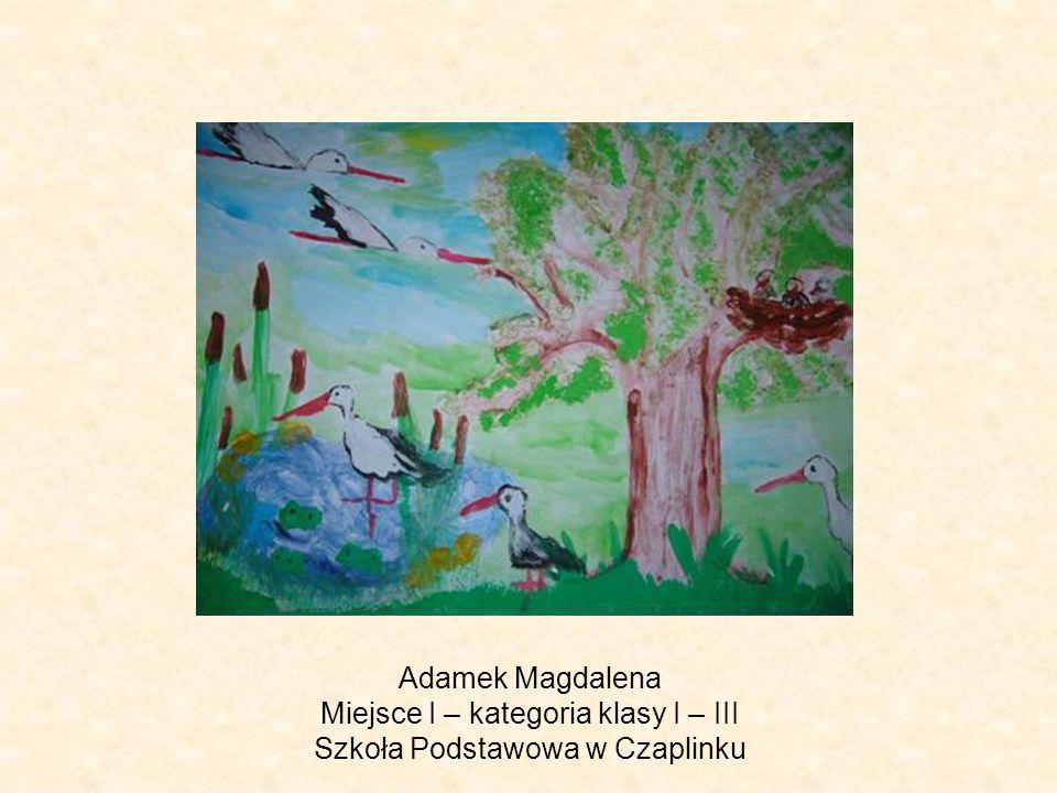 Adamek Magdalena Miejsce I – kategoria klasy I – III Szkoła Podstawowa w Czaplinku