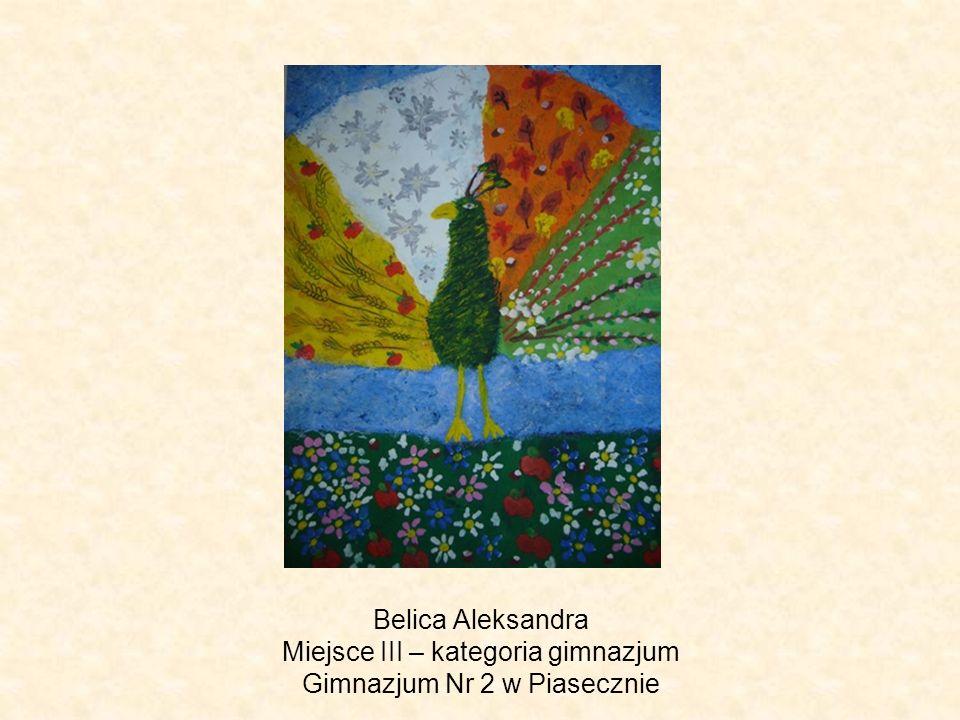 Belica Aleksandra Miejsce III – kategoria gimnazjum Gimnazjum Nr 2 w Piasecznie