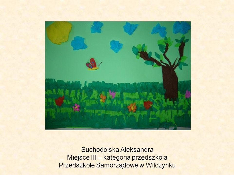 Suchodolska Aleksandra Miejsce III – kategoria przedszkola Przedszkole Samorządowe w Wilczynku