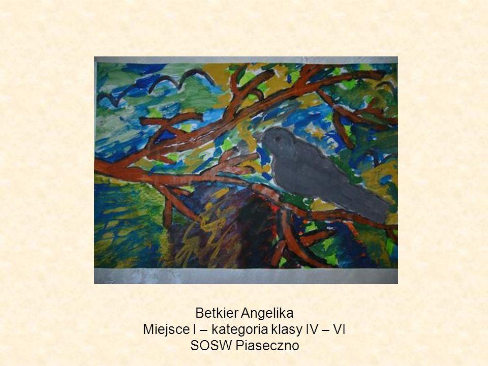 Betkier Angelika Miejsce I – kategoria klasy IV – VI SOSW Piaseczno