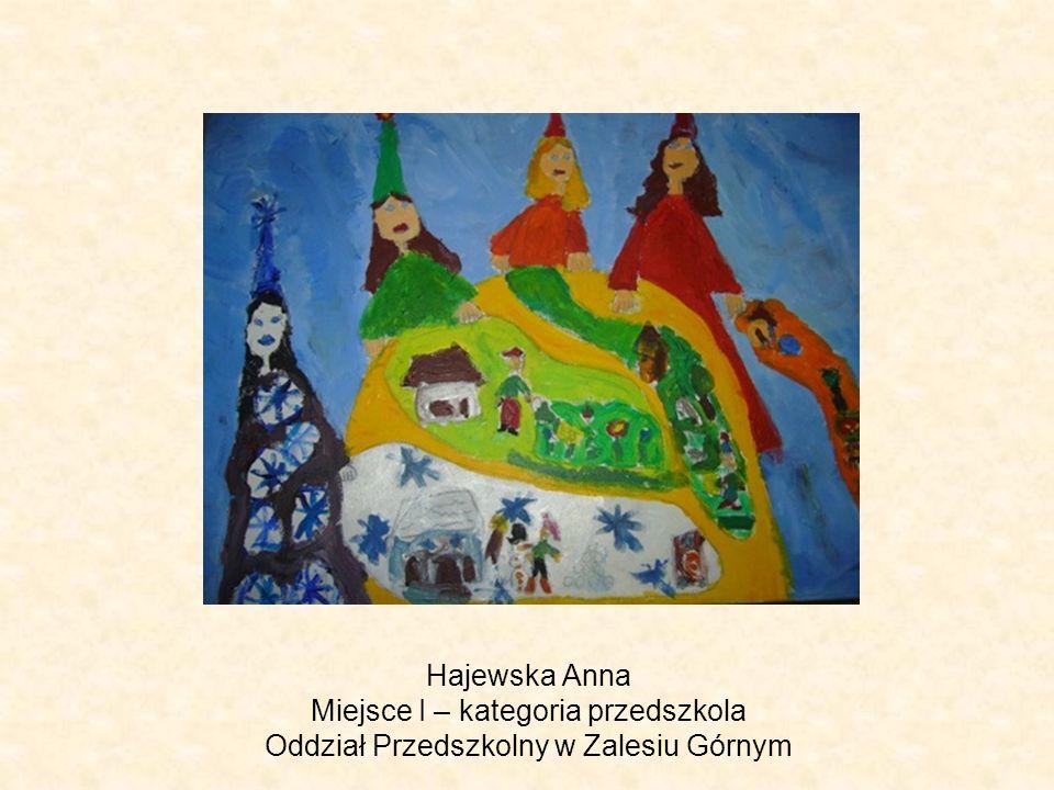 Hajewska Anna Miejsce I – kategoria przedszkola Oddział Przedszkolny w Zalesiu Górnym