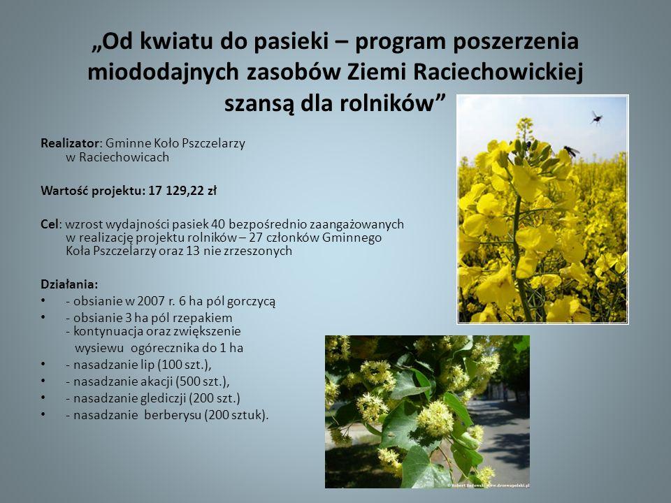Od kwiatu do pasieki – program poszerzenia miododajnych zasobów Ziemi Raciechowickiej szansą dla rolników Realizator: Gminne Koło Pszczelarzy w Raciec