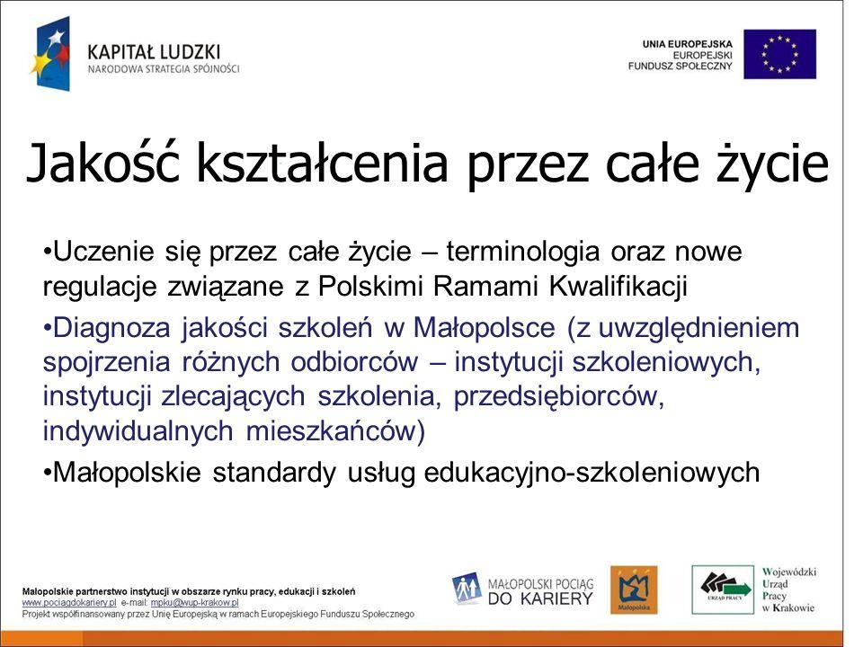 Jakość kształcenia przez całe życie Uczenie się przez całe życie – terminologia oraz nowe regulacje związane z Polskimi Ramami Kwalifikacji Diagnoza jakości szkoleń w Małopolsce (z uwzględnieniem spojrzenia różnych odbiorców – instytucji szkoleniowych, instytucji zlecających szkolenia, przedsiębiorców, indywidualnych mieszkańców) Małopolskie standardy usług edukacyjno-szkoleniowych