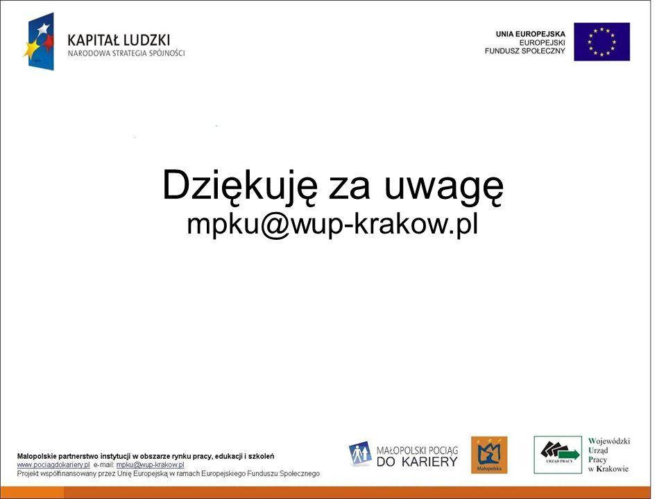 Dziękuję za uwagę mpku@wup-krakow.pl