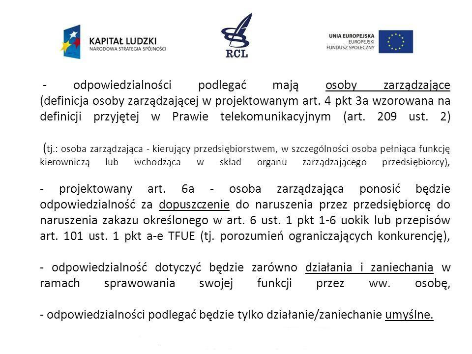 - katalog praktyk, za które karane będą osoby fizyczne, będzie ściśle określony i zamknięty (w przeciwieństwie do katalogu zakazanych praktyk przedsiębiorców z art.