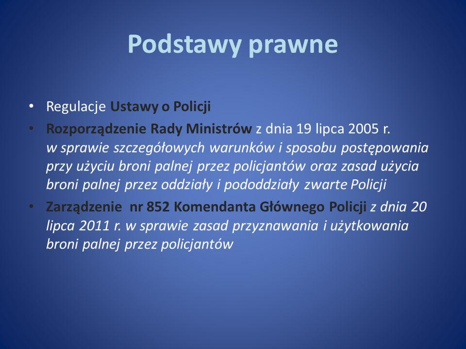Podstawy prawne Regulacje Ustawy o Policji Rozporządzenie Rady Ministrów z dnia 19 lipca 2005 r. w sprawie szczegółowych warunków i sposobu postępowan