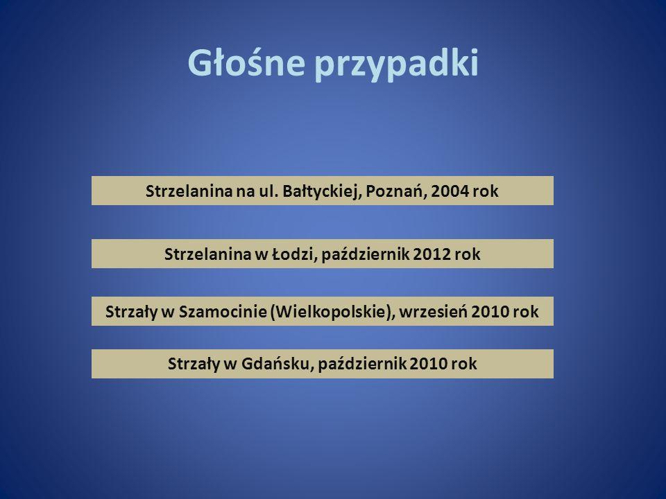 Głośne przypadki Strzelanina na ul. Bałtyckiej, Poznań, 2004 rok Strzelanina w Łodzi, październik 2012 rok Strzały w Szamocinie (Wielkopolskie), wrzes
