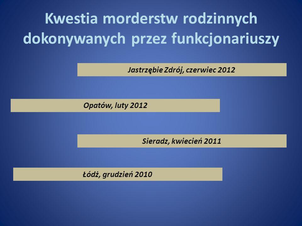 Kwestia morderstw rodzinnych dokonywanych przez funkcjonariuszy Jastrzębie Zdrój, czerwiec 2012 Opatów, luty 2012 Sieradz, kwiecień 2011 Łódż, grudzie