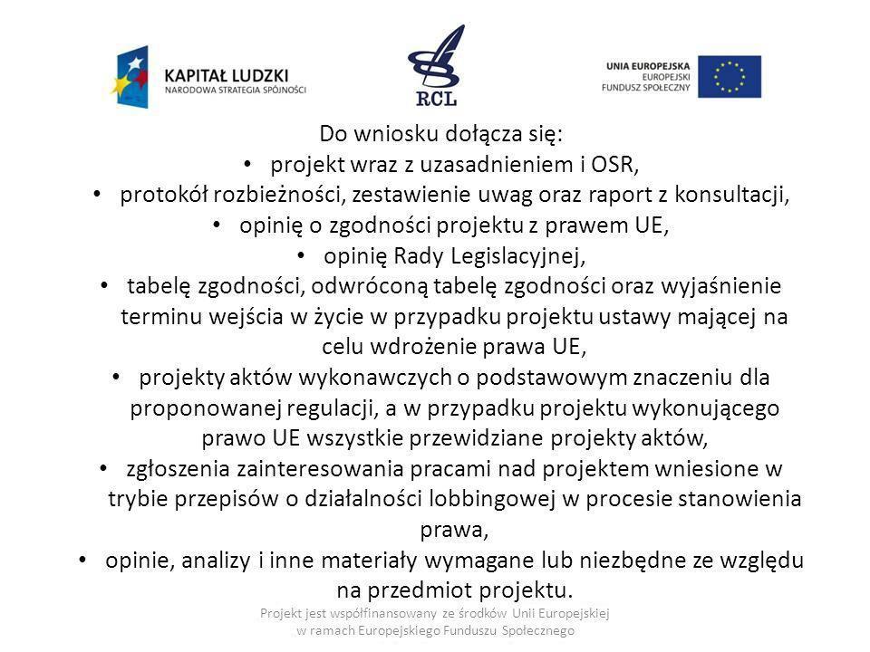 Projekt jest współfinansowany ze środków Unii Europejskiej w ramach Europejskiego Funduszu Społecznego Do wniosku dołącza się: projekt wraz z uzasadni