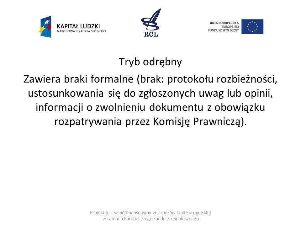 Tryb odrębny Zawiera braki formalne (brak: protokołu rozbieżności, ustosunkowania się do zgłoszonych uwag lub opinii, informacji o zwolnieniu dokument