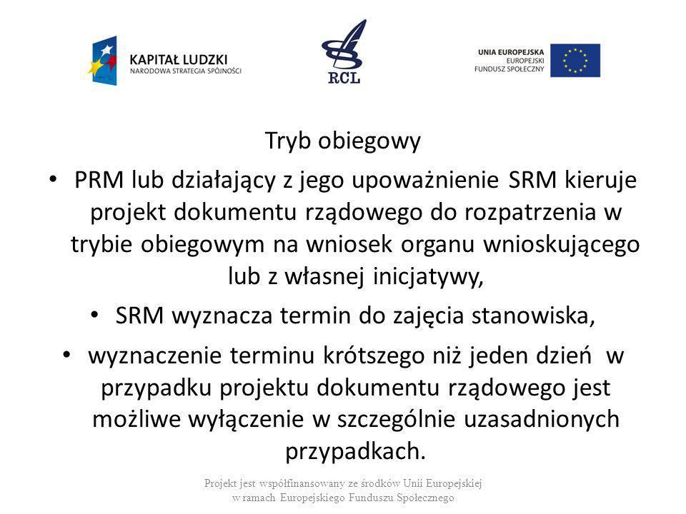 Tryb obiegowy PRM lub działający z jego upoważnienie SRM kieruje projekt dokumentu rządowego do rozpatrzenia w trybie obiegowym na wniosek organu wnio