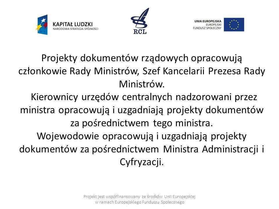 Projekt jest współfinansowany ze środków Unii Europejskiej w ramach Europejskiego Funduszu Społecznego Projekty dokumentów rządowych opracowują członk
