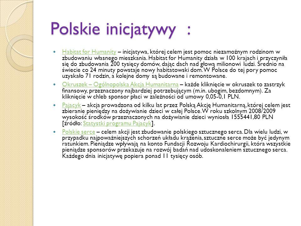 Polskie inicjatywy : Habitat for Humanity – inicjatywa, której celem jest pomoc niezamożnym rodzinom w zbudowaniu własnego mieszkania.