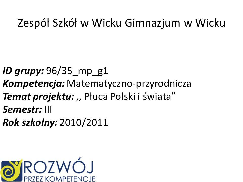Zespół Szkół w Wicku Gimnazjum w Wicku ID grupy: 96/35_mp_g1 Kompetencja: Matematyczno-przyrodnicza Temat projektu:,, Płuca Polski i świata Semestr: I