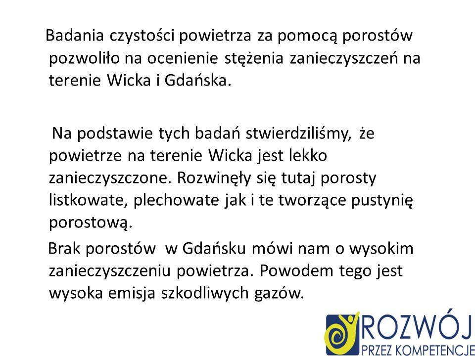 Badania czystości powietrza za pomocą porostów pozwoliło na ocenienie stężenia zanieczyszczeń na terenie Wicka i Gdańska. Na podstawie tych badań stwi