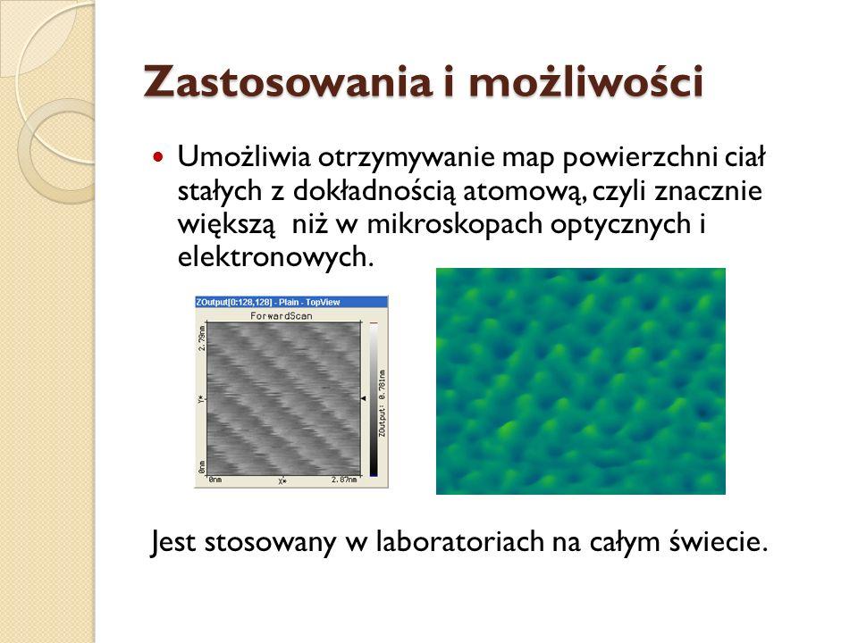Zastosowania i możliwości Umożliwia otrzymywanie map powierzchni ciał stałych z dokładnością atomową, czyli znacznie większą niż w mikroskopach optycz