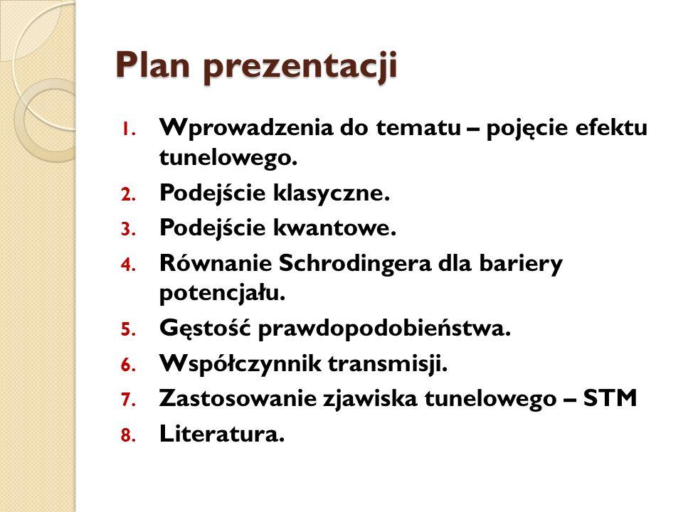 Plan prezentacji 1. Wprowadzenia do tematu – pojęcie efektu tunelowego. 2. Podejście klasyczne. 3. Podejście kwantowe. 4. Równanie Schrodingera dla ba