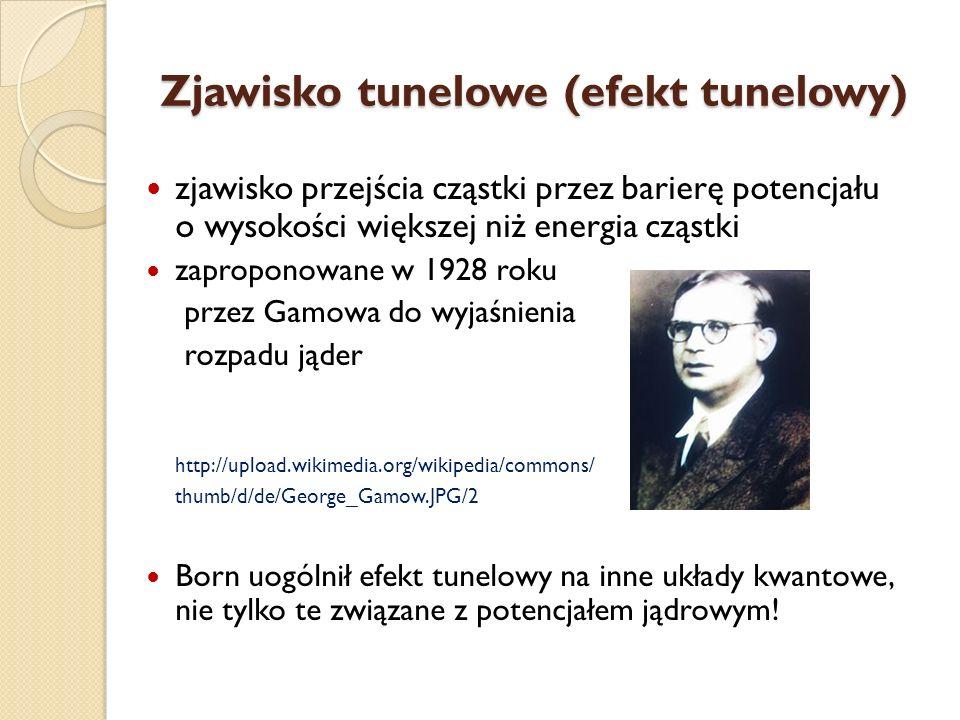 Zjawisko tunelowe (efekt tunelowy) zjawisko przejścia cząstki przez barierę potencjału o wysokości większej niż energia cząstki zaproponowane w 1928 r