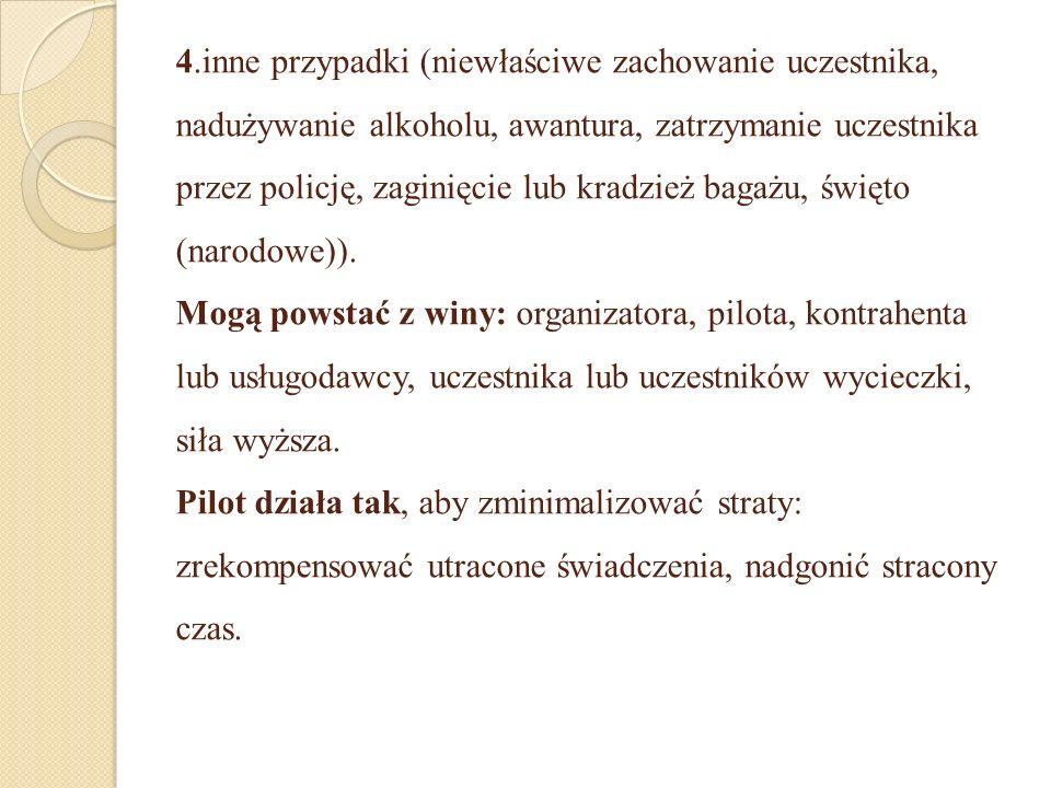 4.inne przypadki (niewłaściwe zachowanie uczestnika, nadużywanie alkoholu, awantura, zatrzymanie uczestnika przez policję, zaginięcie lub kradzież bag