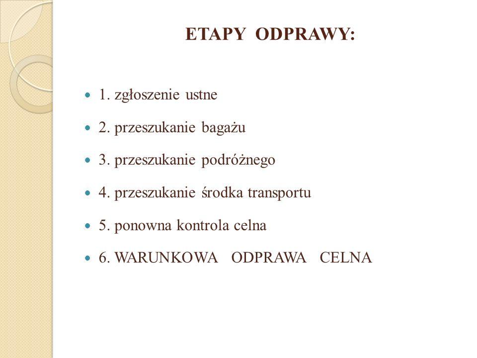 ETAPY ODPRAWY: 1. zgłoszenie ustne 2. przeszukanie bagażu 3. przeszukanie podróżnego 4. przeszukanie środka transportu 5. ponowna kontrola celna 6. WA