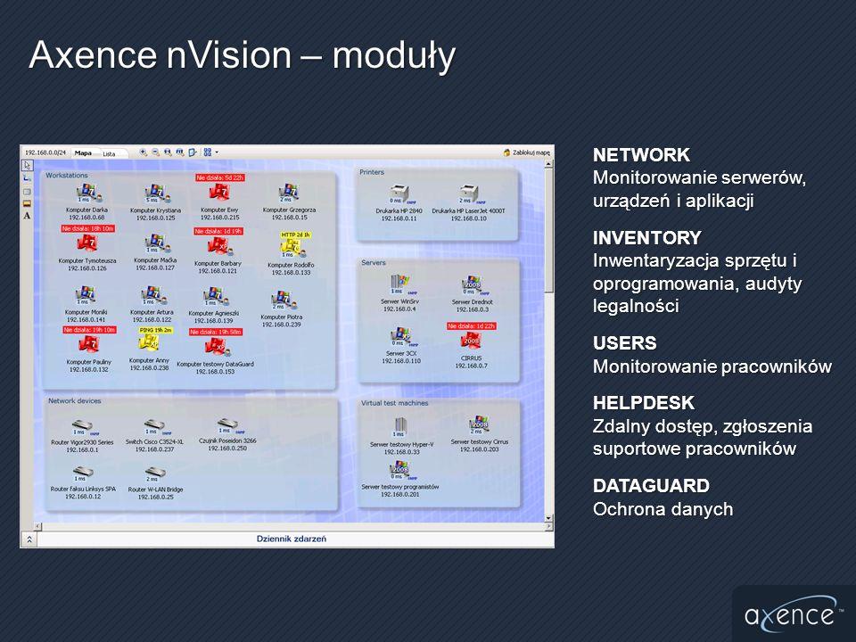 Historia zmianHistoria zmian Alarmowanie o wybranych kategoriach zmianAlarmowanie o wybranych kategoriach zmian Zawsze aktualny audyt sprzętu i oprogramowaniaZawsze aktualny audyt sprzętu i oprogramowania Dane z monitoringu użytkowników oraz inwentaryzacji są zbierane stale i przesyłane automatycznie przez agenta po uzyskaniu połączenia z nVisionDane z monitoringu użytkowników oraz inwentaryzacji są zbierane stale i przesyłane automatycznie przez agenta po uzyskaniu połączenia z nVision Agent może przesyłać dane przez Internet (laptopy na zewnątrz firmy)Agent może przesyłać dane przez Internet (laptopy na zewnątrz firmy)