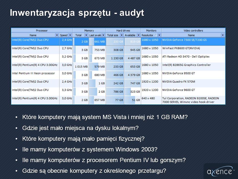 Które komputery mają system MS Vista i mniej niż 1 GB RAM?Które komputery mają system MS Vista i mniej niż 1 GB RAM? Gdzie jest mało miejsca na dysku